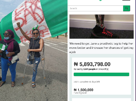 EndSARS: Nigerians donate over 5 million for Jane Obiene so as to buy her an artificial leg.