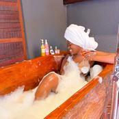 Fella Makafui Ghanaian entertainer show off her bathroom photos on public