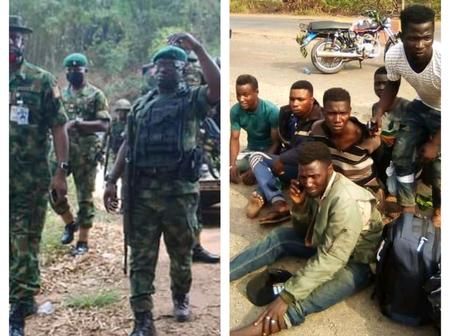 Insecurity In Edo State: See Where Soldiers Caught These Men Suspected To Be Kidnappers
