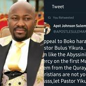 See Mixed Reactions As Apostle Suleiman Pleads with Boko Haram To Release A Pastor They Just Kidnapped.