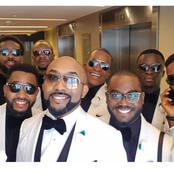 Photos As Banky Wellington Brother's Groomsmen Squad Stunned During Wedding.