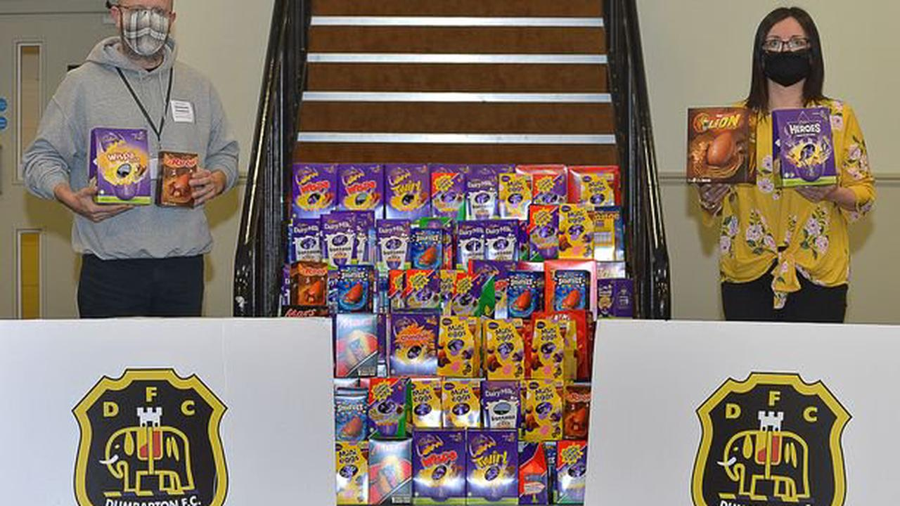 Generous Dumbarton FC players and fans make an egg-cellent Easter donation