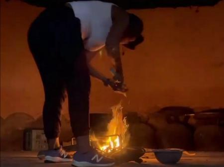 Isibaya actress known as Ntwenhle is not ashamed of her roots as she still cooks with fire.