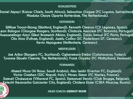 NFF announces Super Eagles squad: Joe Aribo, Etebo return to the team