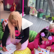 Check Out As Billionaire's Daughter, Cuppy Joins Little Girl, Aalijah To Have Fun And Color Drawings