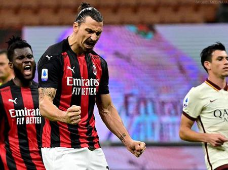 At 39years, Zlatan Ibrahimovic Breaks Another World Record After Scoring 2 Goals Against Roma