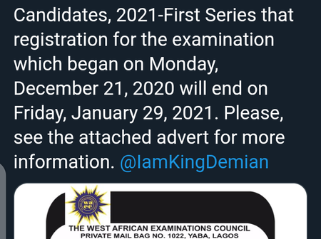 WAEC Update: WAEC Gives Closing Date For 2021 First Series Registration For Private Candidates