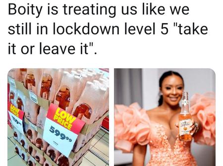 Boity slapped on twitter for selling 16 bottles of ciders for R599