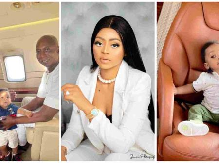 Regina Daniels, Ned Nwoko And Their Son Captured Having A Family Time In Their Private Jet