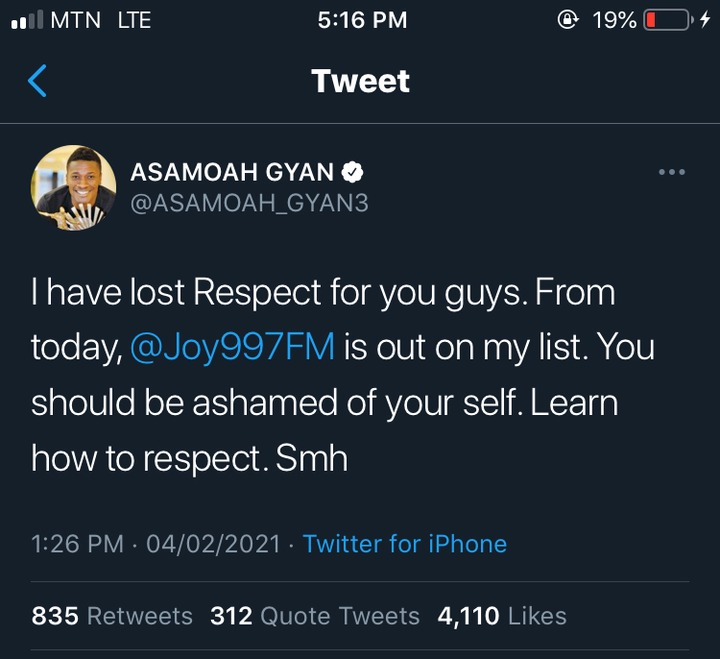"4484dfa1dbfa49f3a42e90bad8e80cf6?quality=uhq&resize=720 - ""You Should Be Ashamed Of Your Self, I Have Lost Respect For You Guys"" - Asamoah Gyan Tells Joy FM"