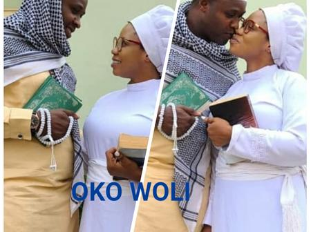 Actress Wunmi Toriola And Actor Femi Adebayo Shares Loved Up Pictures On A Movie Set.
