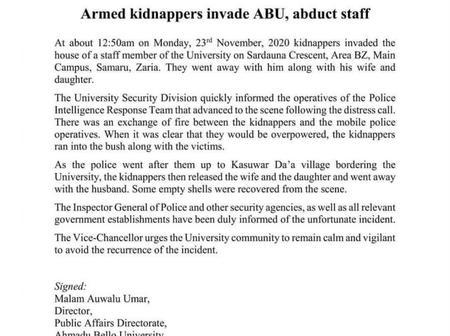Gunmen Kidnap ABU Staff In Gunfight With Police