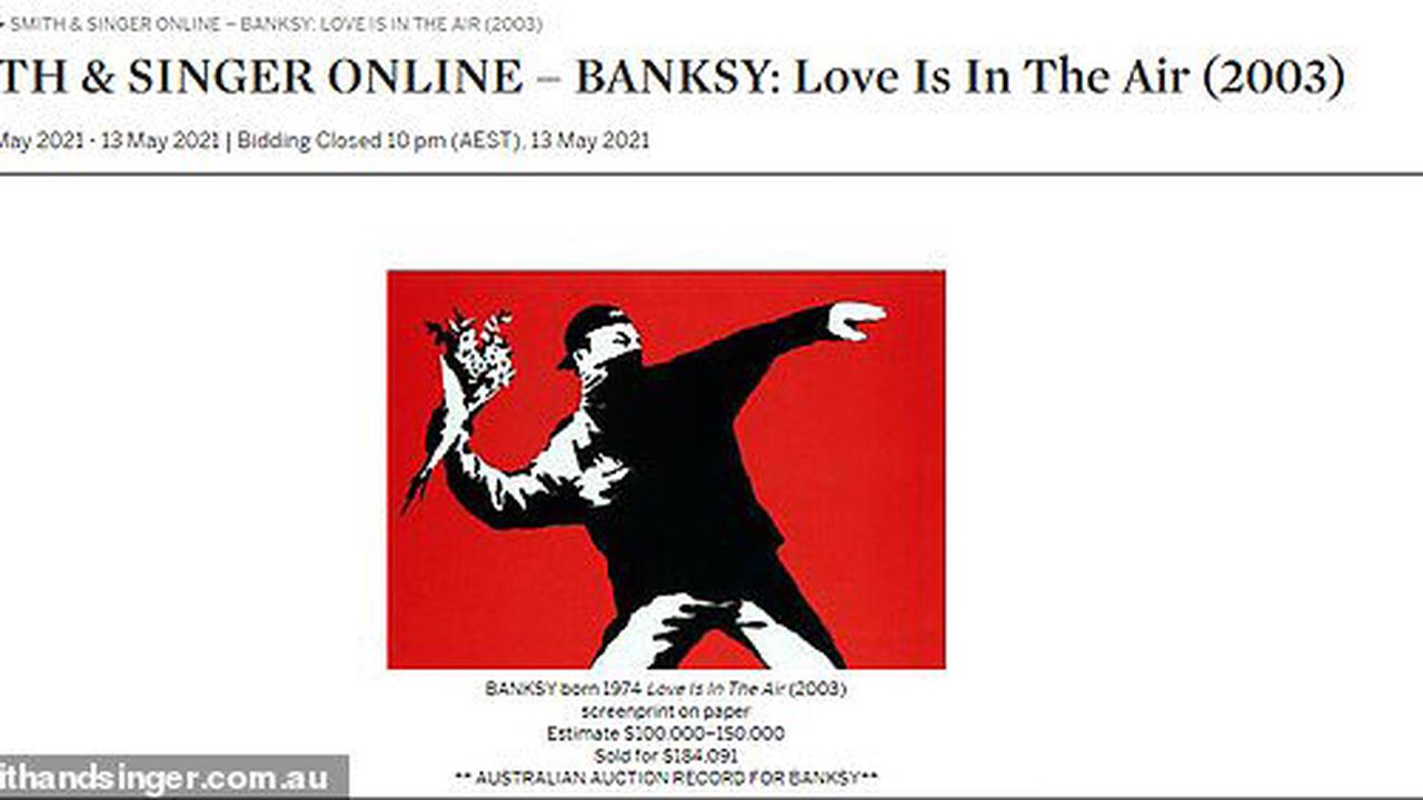 Lucky Australian who picked up an authentic Banksy print for $300 at a museum shop in 2003 makes $184,000 after selling the piece at auction