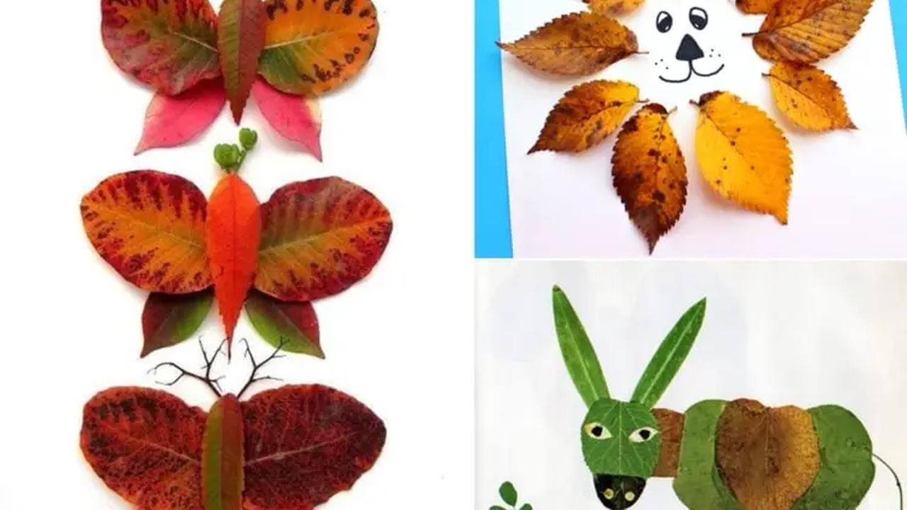 Tiere aus Blättern basteln & lustige Herbstbilder gestalten