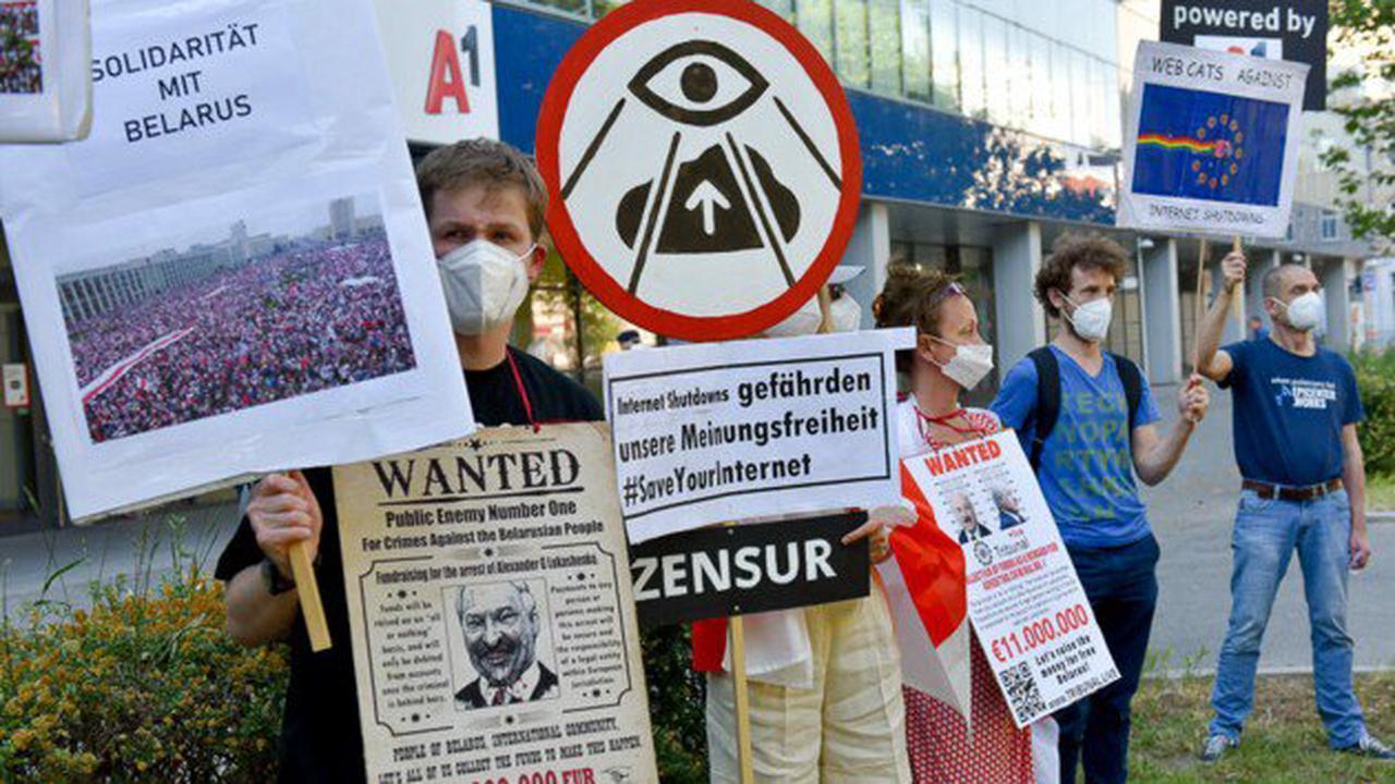 Demo vor A1-Zentrale wegen Netzsperren in Belarus
