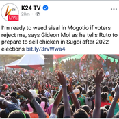 Gideon Moi Says he is Ready to Weed Sisal in Mogotio if Voters Reject him