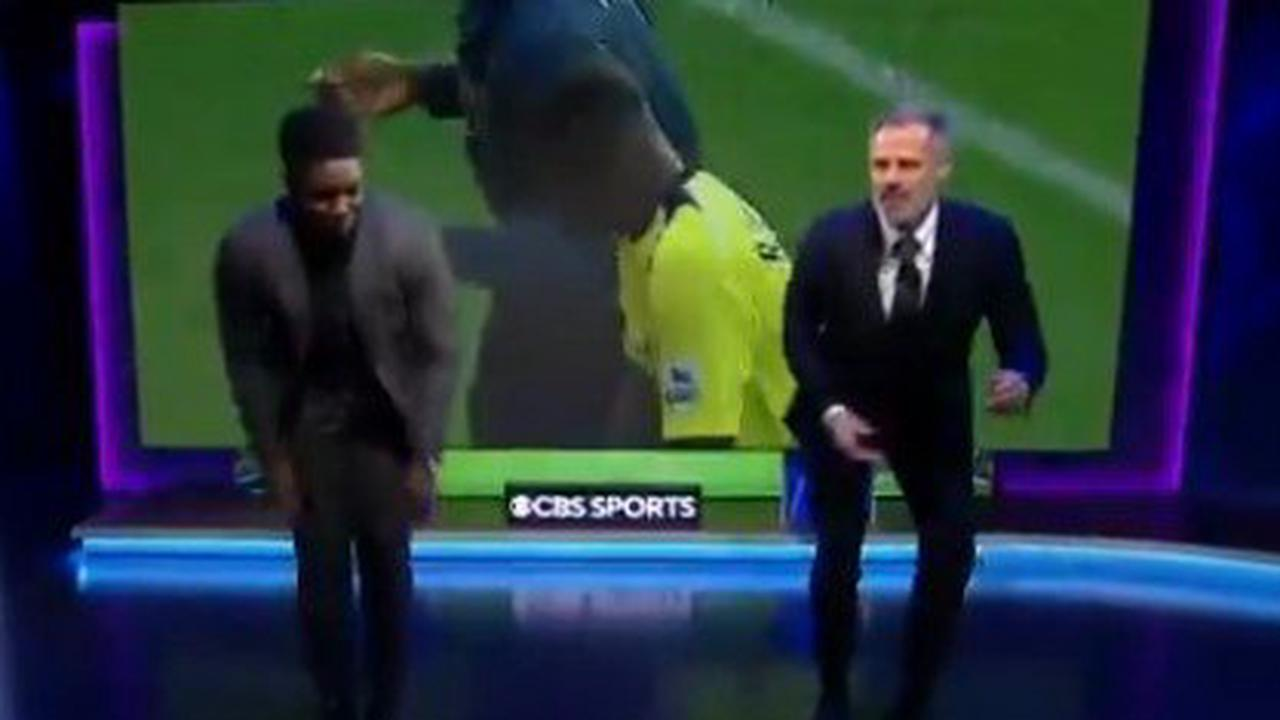 Watch hilarious moment Carragher and Richards dance and do cartwheels on UCL coverage