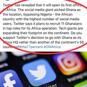 Few days Twitter Announced its HQ in Africa (Ghana) see the strange comments DW makes.