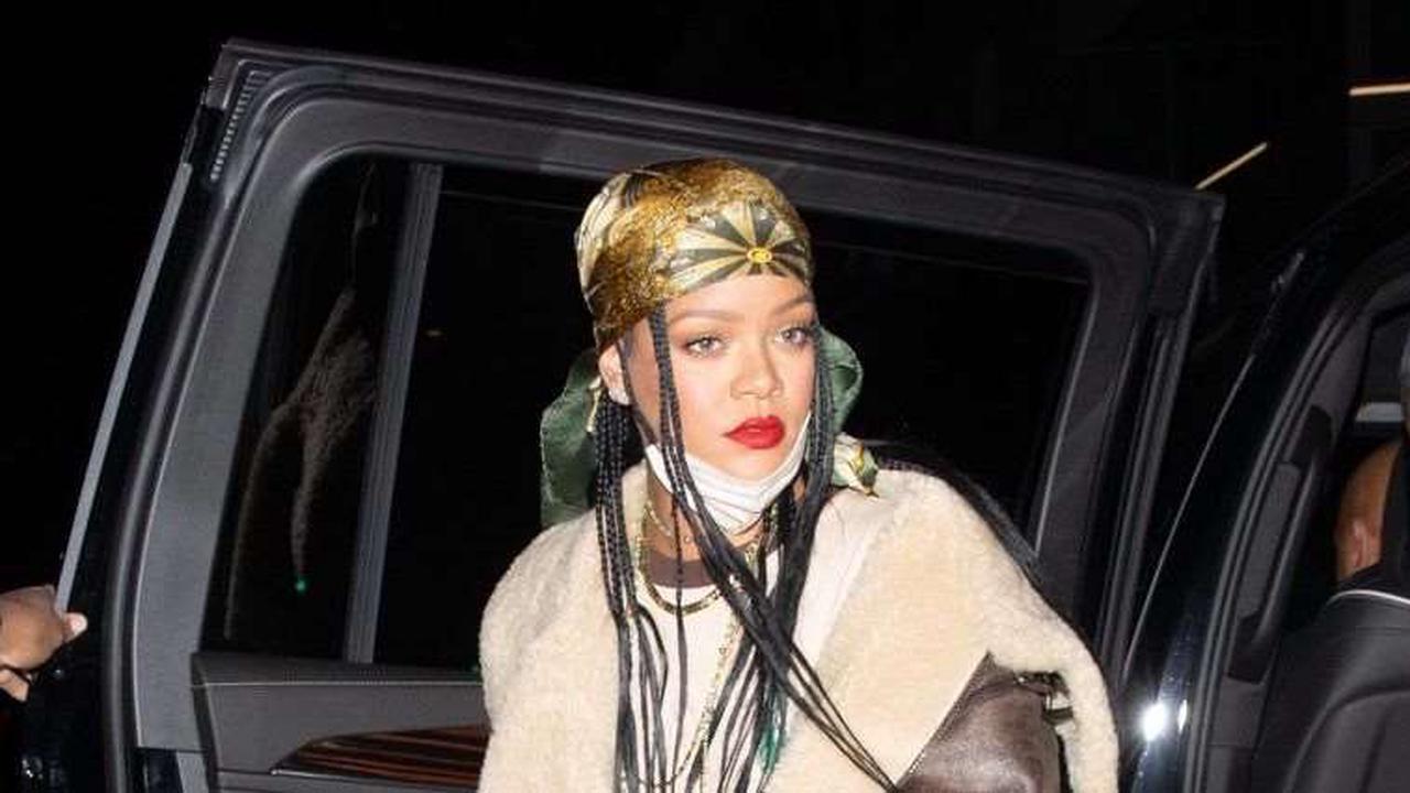 Rihanna Kills Transition Dressing in a Shearling and Mini Skirt Combo