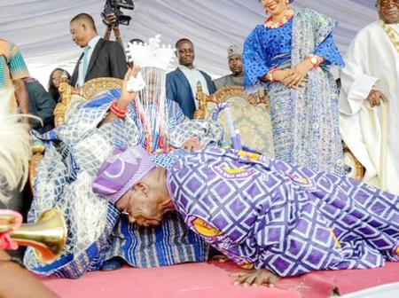 Yoruba Tradition Is Interesting, See Photos Of Different Times Obasanjo Publicly Prostrated For King