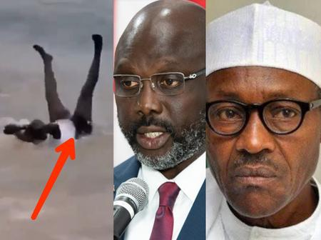 [VIDEO] See What Liberian President, George Weah Was Spotted Doing In An Ocean That Stirs Reactions