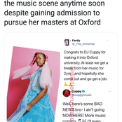 DJ Cuppy Plans to continue recording at Oxford. See what She said