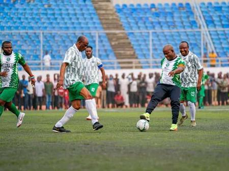 VIDEO: Gov Yahaya Bello Scores In Novelty Match Against Ex-Super Eagles Team Led By J.J. Okocha