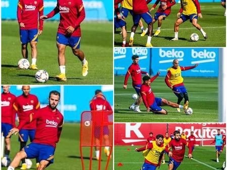 Check out photos of Lionel Messi, Coutinho, Dest, and other players during today's training session