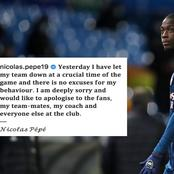 Nicholas Pepe really felt so sorry for his action on Alioski, check what he wrote to Arsenal fans