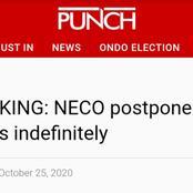 Breaking News: NECO Postpones 2020 SSCE Examination Indefinitely.