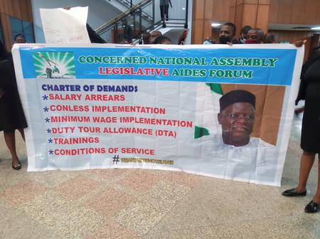 National Assembly Aides Protest Over Non-payment of Salary Arrears, Minimum Wage, Others