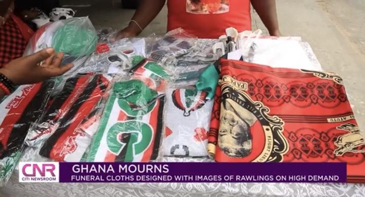"46eb1e5afb624c87a12c6889e0e5baf0?quality=uhq&resize=720 - ""Ghana Mourns"": Funeral Cloths With JJ Rawlings Image In High Demand In Ghana"