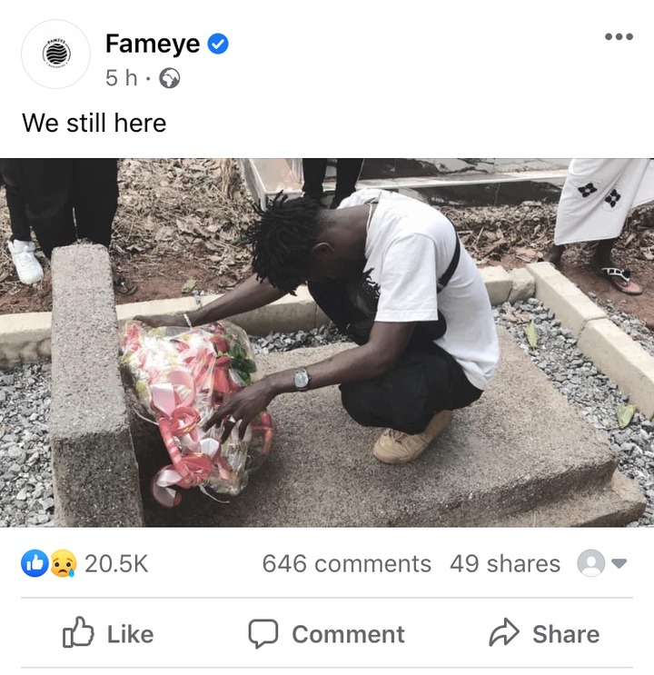 46f9a51b4f3d493884f7d4ad4715050f?quality=uhq&resize=720 - Mother's Day: Fameye Visits His Mom's Tomb With Flowers To Honour Her; Sad Photo Drops
