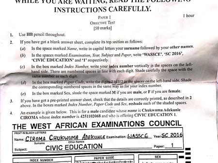 2016 WAEC Civic Education Past Questions And Answers