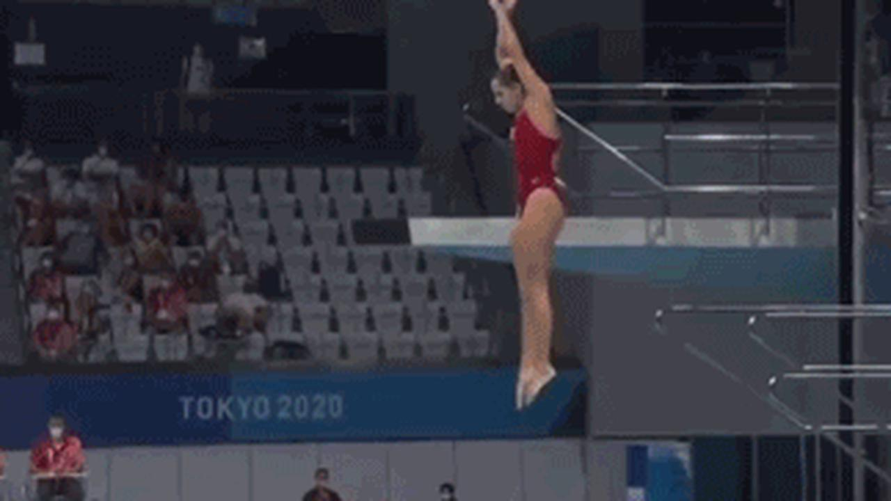 Watch Canadian diver score 0.0 at Olympics as she lands in pool feet first after pulling out of move over safety fears
