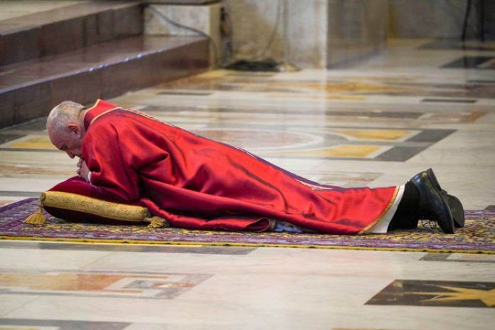 Moment Pope Francis Laid On The Floor