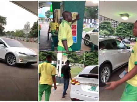 Man goes viral as he drives his electric car to petrol station in Lagos