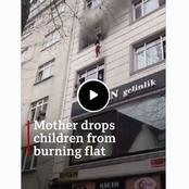 (Video) See How This Mother Throw Down 4 Children To Escape Fire.