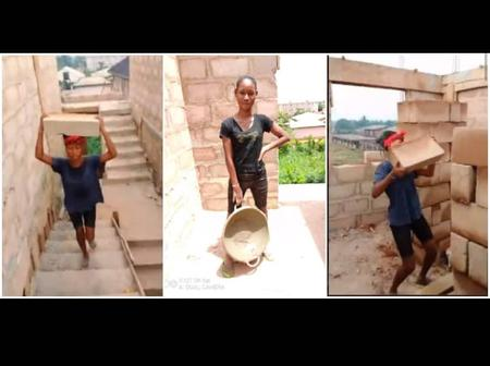 A female student goes viral after she shared her pictures carrying blocks and packing stones.