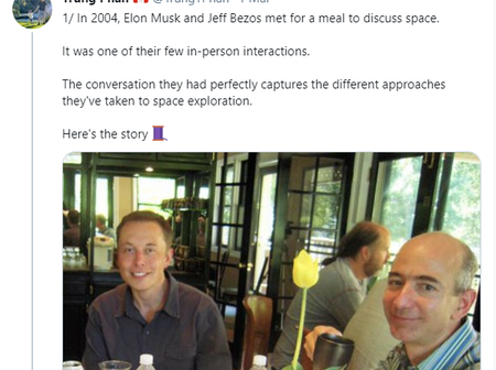Rare Photo Of Elon Musk And Jeff Bezos Having Dinner Together 17 years Ago