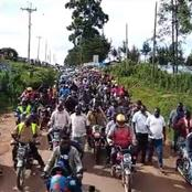 Bodaboda Operators in Nandi Pour Out Into The Streets For Ground Warm Up Ahead of Ruto's Visit (Video)