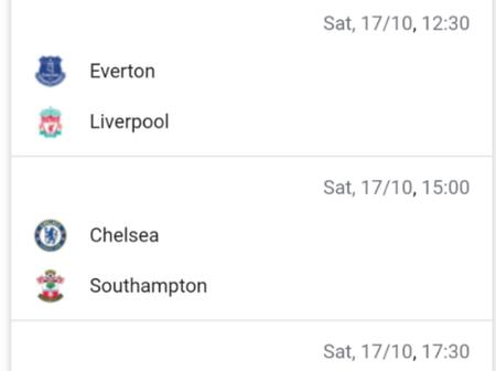 Premier League Matches for Saturday, 17 October 2020