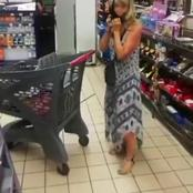 A white lady left twitter in stitches when she wears her underwear as a mask at a grocery shop.