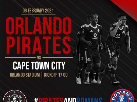 Confirmed Pirates starting X1 against Cape Town City