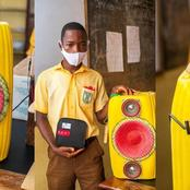 See How This Junior Secondary School Student Made Bluetooth Speaker With Yellow Plastic Keg