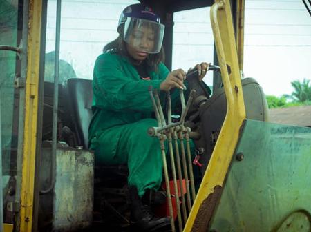 Nigerian female Councillor drives tractor, grades internal roads in Akwa Ibom (Photos)