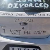 Photos: Divorce Turns Into A Celebration As Guy Jubilate Partying With Wife With Car Messages