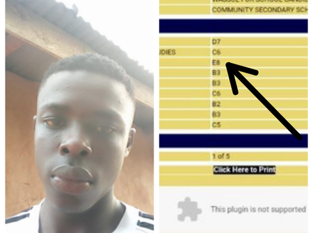After he got E8 in his WAEC exam, student begs people to help him financially