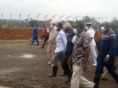 Governor Nyong'o Steals The Show, Turns Up For Stadium Inspection Tour Wearing Gumboots