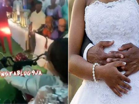 Reactions As Ibadan Couple Made 'Grand' Entrance Into Their Wedding Reception On A Motorbike